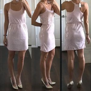 NWT baby pink racerback dress with clear sequins